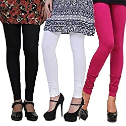 Rooliums Cotton Lycra Leggings Combo Pack of 3 (HRBWP3CL_Multicolor_Freesize)