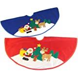 Club Pack of 48 Santa Claus with Reindeer Mini Christmas Tree Skirts 20""