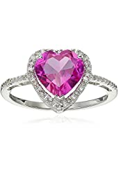Sterling Silver Created Pink Sapphire Diamond Heart Ring (1/15 cttw, J-K Color, I2-I3 Clarity)