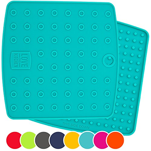 Set of (2) Premium, 5 in 1 Multipurpose Silicone Kitchen Tool: Trivet Mat, Pot Holders, Spoon Rest, Jar Opener, Coaster | Heat Resistant Hot Pads | Thick & Flexible | Great Gifts for Her (Teal) (Desk Hot Pot compare prices)