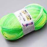 100 gr Sockenwolle Regia 4-fach Fluormania neon leaf color Fb.7186