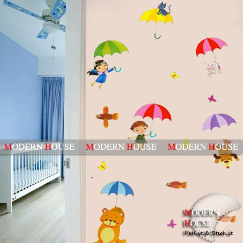Modern House Kids with Umbrella removable Vinyl Mural Art Wall Sticker Decal