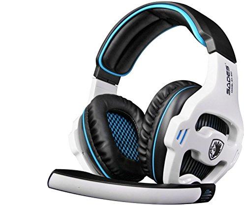 SADES ゲーミングヘッドフォン 7.1chサラウンド PC対応 USB有線 ノイズキャンセリング マイク LEDライト ホワイト&ブルー [並行輸入品]