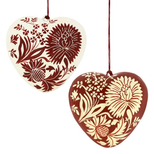 A Pair Of Hearts Red And White Paper Mache Hanging Decor For Romantic Valentine