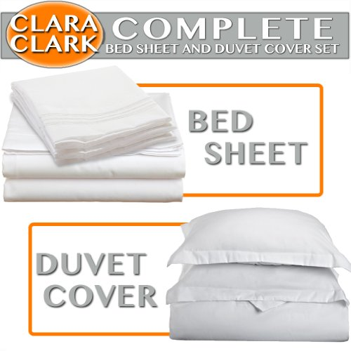Clara Clark Complete 7-Piece Bed Sheet And Duvet Cover Set, King, White front-964402