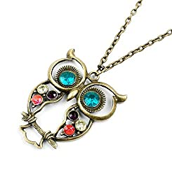 Sorella'z Blue Eye Crystal Long Owl Necklace