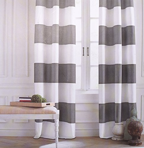 Tommy hilfiger cabana wide stripes curtains 2 panels 50 by 84 inch rod pocket contemporary - Delightful window treatment decorating design with various modern grey curtain ...