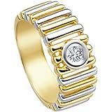 Diamond Line Damen-Ring Diamant 14 Karat (585) Gelbgold teilrhodiniert
