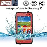 Queens Waterproof Water Resistant Case Cover for Samsung Galaxy S5 Sv V I9600 Phone,dustproof Snowproof Shockproof Hard Armor Protective Cover Case for Samsung Galaxy S5 Sv V I9600 (0-samsung S5 Waterproof Red)