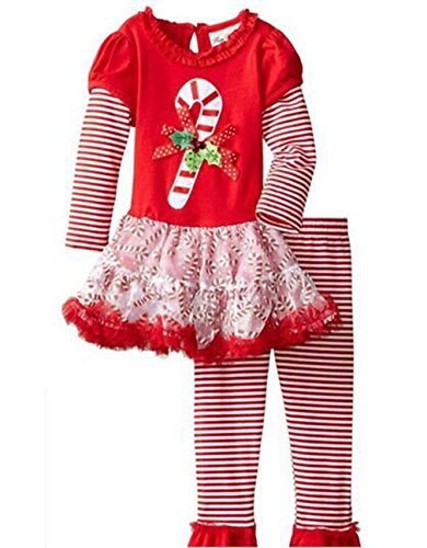 Girls Candy Cane Holiday Dress Outfit Leggings