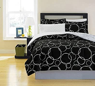 Fresh Black u White Polka Dots Teen Queen Comforter Set Piece Bed In A Bag