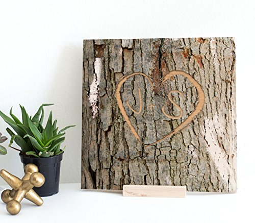 Personalized Memory Tree Bark Keepsake - Engraved Heart Shape with Custom Initials or Text onto Real Wood Canvas | Initial Gifts | Couple's Gift | Wedding Gifts | 5th Anniversary Gifts Valentine Gifts