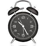 "Peakeep 4"" Twin Bell Analog Alarm Clock Battery Operated - Loud Alarm Clock(Black)"