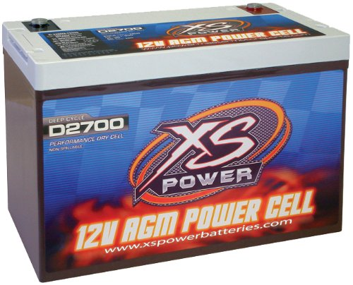 XS Power D2700 AGM Series 4300 Max Amp 1170 Cranking Amp 12V Battery with Reinforced Casing