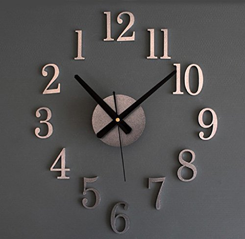 Gillberry Fashion Home Back In Time True 3D Stereo Diy Metallic Wall Clock (Silver)