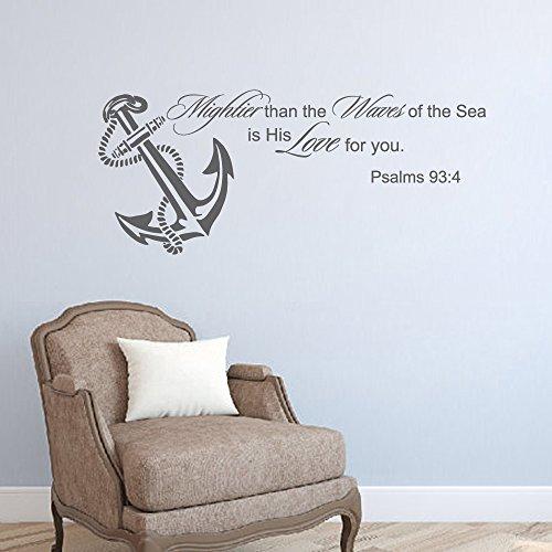 """Psalm 934più potente le onde del mare citazione da parete in vinile lettering Nautical Anchor Living camera cameretta bambini D š Š cor, Vinile, White, 20""""h x46""""w"""