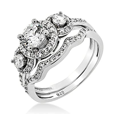 AAA QUALITY LUXURY Ladies Sterling Silver Cubic Zirconia Triple Cluster Engagement Wedding Ring Set