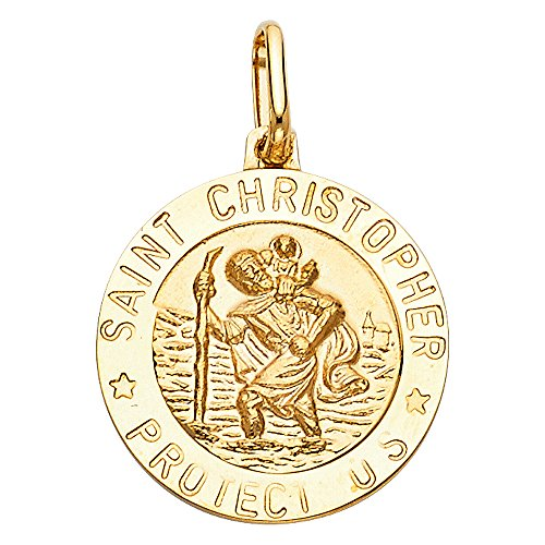 14k Yellow Gold Religious Saint Christopher Medal Charm Pendant (12 x 12 mm) (St Christopher Medal Gold compare prices)