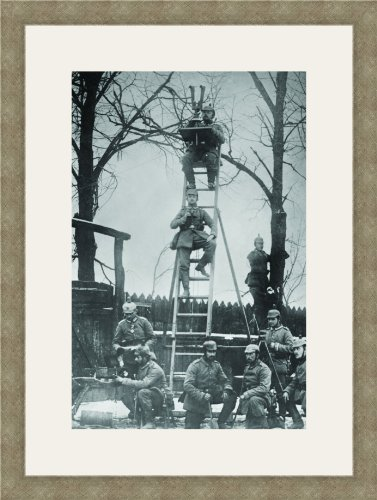 German Unit Of Field Observers On Ladders And With Binoculars 12X18 Archival Ink-Jetpprint, Matted And Framed