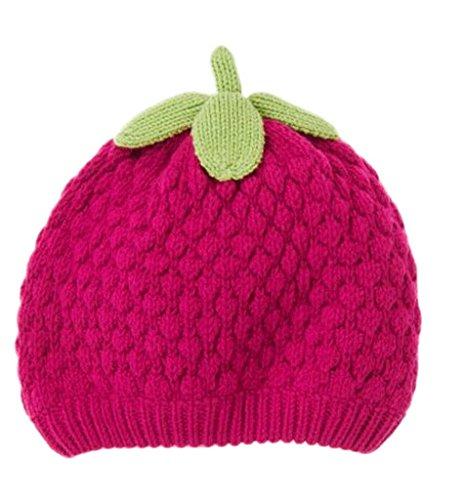 (ビグッド)Bigood 可愛い ニット帽 赤ちゃん ベビー帽子 出産祝い 新生児 キッズ 女の子 秋冬 子供 ニット ワッチキャップ イチゴ型 ローズ色 S
