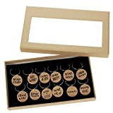 Wine Glass Charms - 12-Piece Wine Charm Drink Markers - Natural Cork Wine Lover Themed Wine Glass Tags Decorations for Parties, Gatherings, Reunions - 1 x 0.19 inches