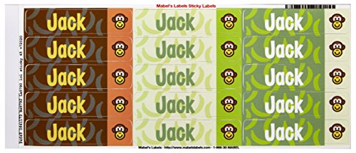 Mabel'S Labels 40845041 Peel And Stick Personalized Labels With The Name Jack And Monkey Icon, 45-Count front-836254