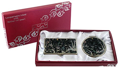 Mother Of Pearl Compact Mirror Business Credit Name Card Holder Set Stainless Steel Ten Symbols Of Longevity Design front-423198