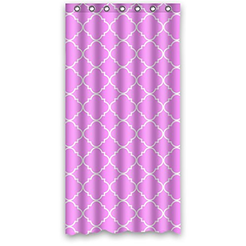 """Cool Quatrefoil Simple Pink And White Classic Reticular Waterproof Shower Curtain 36"""" X 72"""" front-927860"""