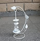 Classical openwork ornaments wrought iron candelabra romantic sweet glass candlestick iron candle holder (White)