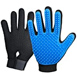 2020 New Version Pet Grooming Brush, Enhance Pet Grooming Glove with 255 Tips, Deshedding Glove for Dog and Cat, Left & Right Gentle De-Shedding Glove Brush, Blue (Color: Blue)