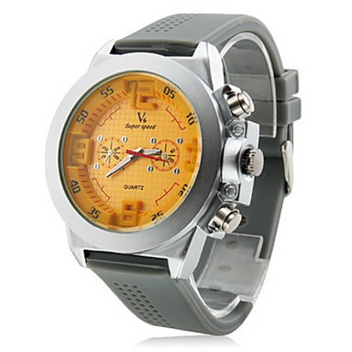 Steel Plate Silicone Band Analog Quartz Yellow Dial BMen's Watch