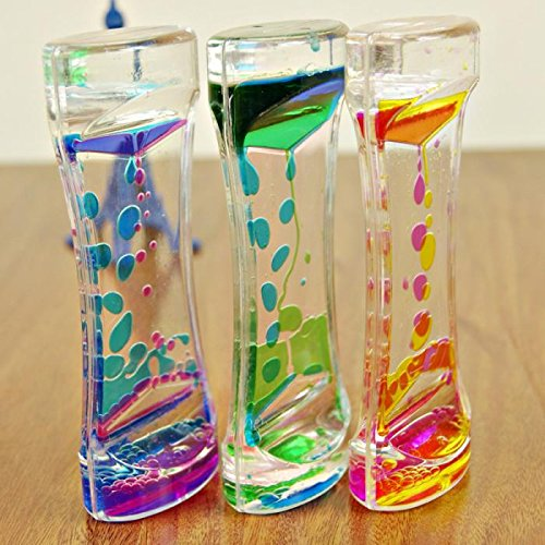 1 Piece Floating Color Mix Illusion Timer Liquid Motion Visual Slim liquid Oil Glass Acrylic Hourglass Timer Clock Ornament Desk -Ez2Shop (Ooze Tube Liquid Motion Timer Toy compare prices)