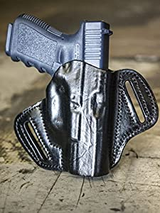 OUTBAGS LOB2P-G19 Black Genuine Leather OWB Open Carry Pancake, Side Carry Belt Holster for Glock 19. Handcrafted in USA.