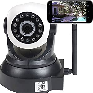 VideoSecu IP Wireless Video Baby Monitor Security Camera with Pan Tilt Wi-Fi for iPhone, iPad, Android Phone or PC Remote View IPP105B BKT