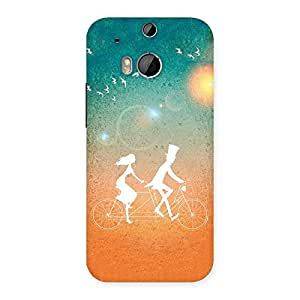 Delighted Cycle Couple Dream Multicolor Back Case Cover for HTC One M8