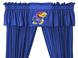 NCAA Kansas Jayhawks - 5pc Jersey Drapes Curtains and Valance Set(Drapes Size 82 X 84 in.)