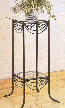 Cheap Black Metal Side/End Table Plant Stand w/Glass Top (VF_2201)