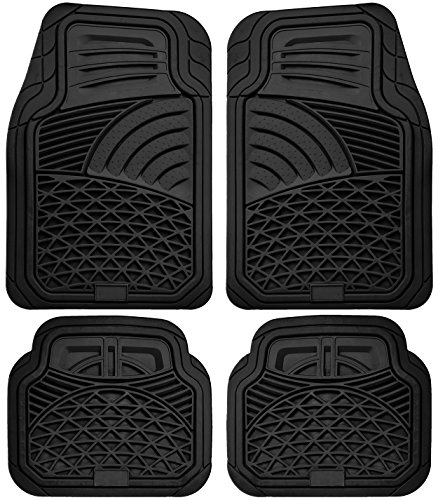 OxGord 4pc Set Tactical Heavy Duty Rubber Floor Mats - Black (Car Mats Kia Sorento 2015 compare prices)