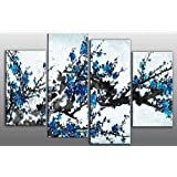 "Large Blue Blossom Floral Painting Canvas artwork 4 pieces multi panel split canvas completely ready to hang hanging cord attached, hanging template included for easy hanging, hand made printed to order UK company 40"" width 28"" height"