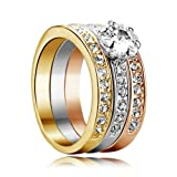 Yoursfs18k Or plaqué 0.5 CT Diamant de simulation Trois-en-un de Bague de fiançailles pour Femme ou Homme