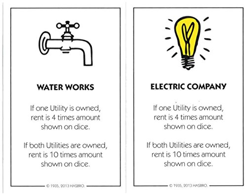 Monopoly Utility Deed Cards - Water Works, Electric Company