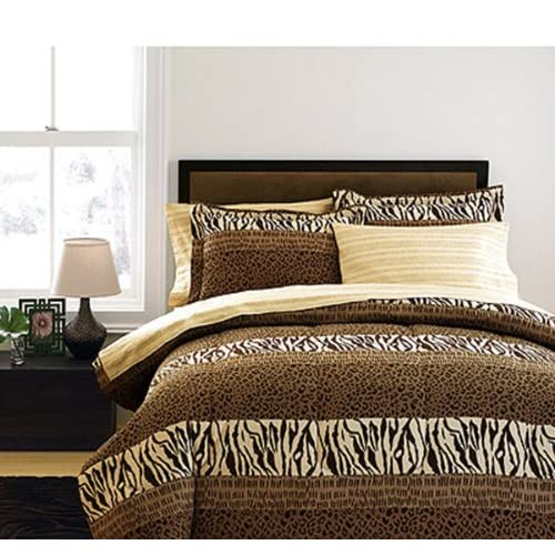 com cheetah leopard zebra wild animal print queen comforter set