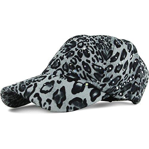 [Black/White Leopard_100% Polyester Glitter Baseball Cap Golf Hat Rhinestone (US Seller)] (Miniture Top Hats)