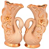 Apurbas Ceramic Flower Vase, Set Of 2 (16 Cm X 26 Cm, Golden)