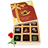 Valentine Chocholik's Belgium Chocolates - Enthralling Dark Chocolate Box With Red Rose