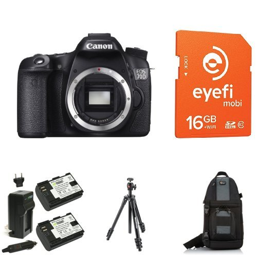 Canon EOS 70D Digital SLR Camera (Body Only) + Eye-Fi Memory Card, Bag, Battery and Tripod