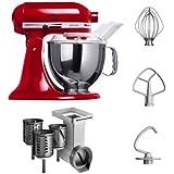 """Kitchenaid KSM150PSEER + MVSA Kitchenaid 5KSM150PSEER Küchenmaschine Serie """"Artisan"""" plus Zubehör mit 3 Trommeln, rot"""