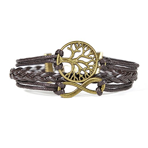 Hitop-Jewelry-Mens-Womens-Leather-Bracelet-Vintage-Infinity-Life-Tree-Charm-Bangle-Brown