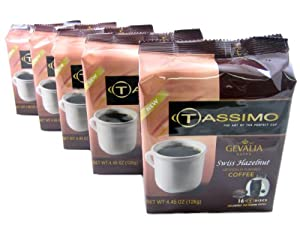 Tassimo T-Disk: Gevalia Swiss Hazelnut Coffee T-Disc Pods (Case of 5 packages; 80 T-Discs Total)