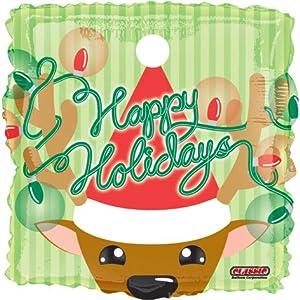 "Happy Holidays 18"" Tangled Lights Reindeer Christmas Mylar Foil Balloon"
